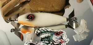 3 in Custom Handmade wooded Chopper topwater lure (Bone White)