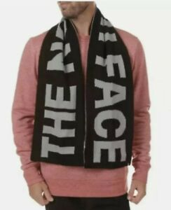 New The NORTH FACE Black / Gray Reversible LOGO Knit SCARF Adult Unisex One Size
