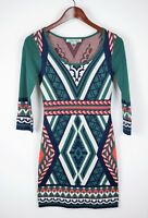 FLYING TOMATO Anthropologie sz S  GREEN & BLUE STRETCH SWEATER DRESS AZTEC PRINT