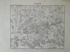 Fleurus 1860 carte de Bataille 1794 Charleroi