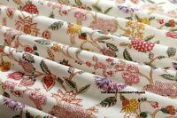 By Yard Indian Hand Block Print Fabric 100% Cotton Natural Dyed Floral Fabric
