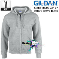 Gildan Sport Grey Zip Up Hoodie Basic Hooded Sweatshirt Sweater Fleece Men
