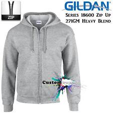 Gildan Sport Grey Zip Up Hoodie Basic Hooded Sweatshirt Sweater Fleece Men