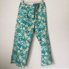 Elegant Ann Taylor Blue-Green Print Petite PANTS CAPRIS Size 10P. NWT!