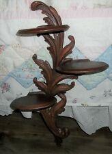 SYROCO WOOD THREE TIER SHELF WALL DECOR ornate FEATHER DESIGN