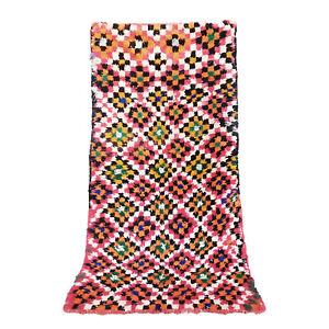 "Boucherouite AZILAL runner rug handmade carpet Vintage Moroccan 6'8"" X 3'5"" rug"