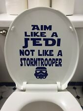 Star Wars Toilet Decal for Bathroom~Aim Like a Jedi in BLUE