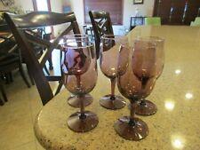 """Vintage 5 Purple Amethyst 6 Oz  Wine Glasses 6"""" Tall"""