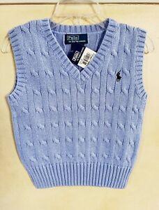 $45 NWT POLO Ralph Lauren sweater VEST cable knit 4 5 6 Blue
