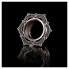 Lotus Mandala Ear Tunnels - Eyelets 4mm - 25mm, White Bronze Tunnels (Code 37)