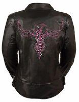 Ladies Black Leather Biker Jacket w Hot Pink Phoenix Embroidery, Studding