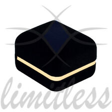 BLACK FANCY VELVET TEXTURED SINGLE RING BOX