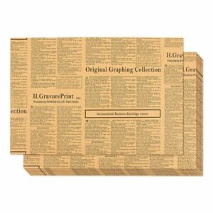 """12-Pack Wrapping-Packing Paper Newspaper Theme Brown Kraft Paper Roll 27"""" x 19"""""""