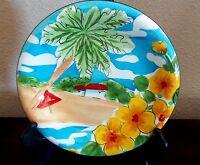 222 Fifth PTS Bahamas Beach Scene/Floral Salad Plate Palm Tree Ocean Beach House