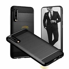 For Samsung Galaxy A50 Carbon Fibre Gel Case Cover Shockproof & Stylus Pen