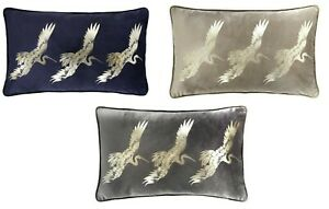 Laurence Llewelyn-Bowen Crane Velvet Feel Filled Cushion, 28 x 48cm 3 Colours.