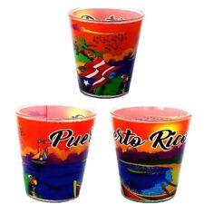 Lot of 2 Shot Glass With Puerto Rico Landscape Design SOUVENIRS - Rican