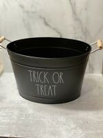 Rae Dunn TRICK OR TREAT Halloween Metal Bucket With Wooden Handle