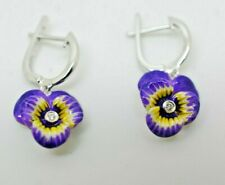 VINTAGE STYLE 925 STERLING SILVER ENAMEL PANSY CZ FLOWER DANGLY EARRINGS