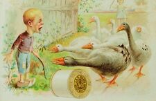 J & P Coats Spool Thread Scared Boy Dutch-Wooden Shoes Group Of Geese F89