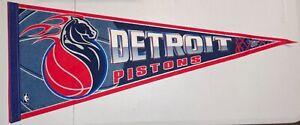 "VINTAGE DETROIT PISTONS NBA 29"" WINCRAFT SPORTS PENNANT FLAMING HORSE LOGO"