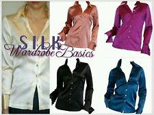 Customized BLACK SILK Charmeu Long Sleeve Button FrenchCuff Blouse s m l xl xxl