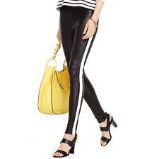 NEW Black Stretch Leather Skinny Pants Free Size leggings Faux White Stripe SALE