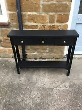 H80 W100 D22cm BESPOKE CONSOLE HALL TABLE 3 DRAWER 1 SHELF CHUNKY BLACK SATIN