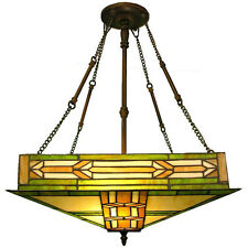 Tiffany Style 2 Light Mission Hanging Ceiling Pendant Fixture Green Glass Shade