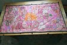 PINK INDIAN TAPESTRY EMBROIDERY elephant wallhanging bohemian sari silk 54 x 30""