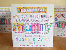 Mummy birthday card personalised. Special happy birthday MUMMY card mum mama