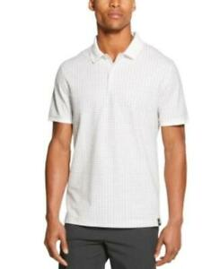 DKNY Men's Collared Performance Stretch Square Print Polo Shirt (White, S)
