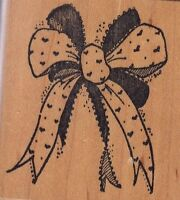 """hearty bow raindrops Wood Mounted Rubber Stamp 2 x 2""""  Free Shipping"""