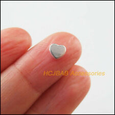 40 New Tiny Heart Charms Tibetan Silver Tone Smooth Spacer Beads 5.5x6mm