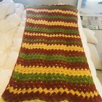 "Vtg Hand Crocheted Afghan 41"" X 74"" Warm Colors Green Yellow Orange Blanket"