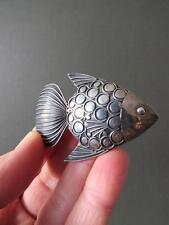 Vintage Modernist Solid Silver Brooch Scandinavian Fish Pin