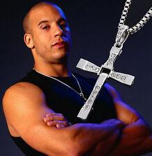 USA -Fashion Men Women Silver Cross Pendant Long Chain Crystal Jewelry Necklace