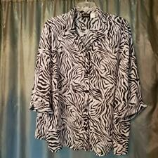 3X MAGGIE BARNES SHEER BUTTON DOWN SHIRT POLYESTER MULTI-COLOR 3/4 CUFFED SLEEVE
