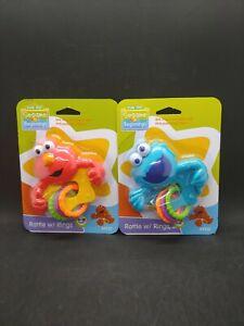 2 Pk Sesame Street Beginnings Cookie Monster Elmo Rattle Teething Ring T1
