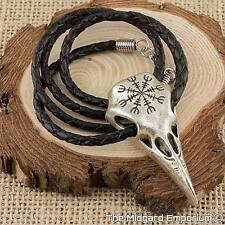 Viking Raven Skull Helm Of Awe Rune Pendant With 100% Real Leather Necklace