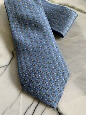 HERMES pale blue silk tie 'H CHAINS' made in France 5405 OA PERFECT condition