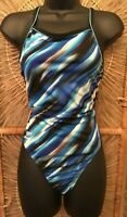 Speedo Endurance Womens One Piece Performance Swimsuit Size 34/8 Blue Graphic