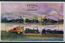 Grenada 1996 MNH Trains Orient 6v M/S Railways Züge Treni Chemin de Fer Stamps