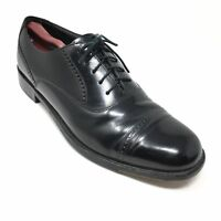 Men's Bostonian Stockbridge Oxfords Dress Shoes Size 10D Black Cap Toe Brogue Y5