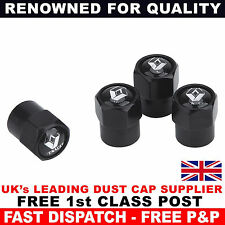 RENAULT Black Wheel Tyre Valve Dust Caps for Clio Laguna Twingo Zoe Megane Twizy
