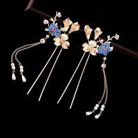 2 Retro Women Girl Flower Cloisonne Bead Tassel Sticks for Kimono Hanfu Wedding