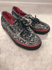 Sperry Top Sider womens sz 6.5 leopard print  Coated canvas slip on boat shoes
