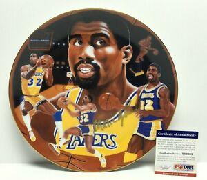 Magic Johnson *FULL NAME AUTO* Signed Lakers Gartlan Collectors Plate PSA