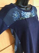 NEW NEXT 6 navy floral long slub tunic t-shirt top short sleeve