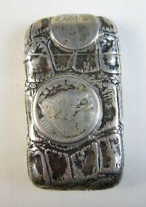 1890 Rare Gorham Sterling Silver Match Safe US Coin & Faux Crocodile Design